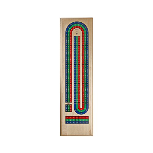 Solid Maple Wood Classic Cribbage Set of Continuous 3 Track Board with Metal Pegs, Blue/Green/Red