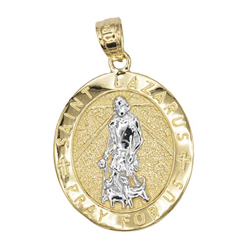 Ice on Fire Jewelry 14k Solid Yellow Gold Oval Saint Lazarus Medal ()