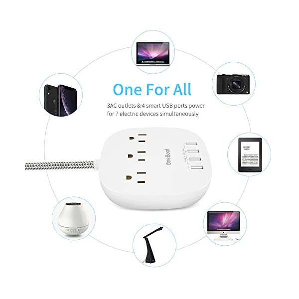 Power Strip 2 Pack, Desktop Charging Station with 3 Outlet 4 USB Ports 4.5A, Flat Plug, 5 ft Long Braided Extension Cord for Cruise Ship Travel Home Office, ETL Listed, White 3
