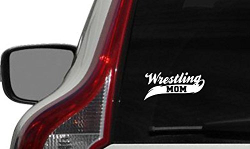 Wrestling Mom Banner Car Vinyl Sticker Decal Bumper Sticker for Auto Cars Trucks Windshield Custom Walls Windows Ipad Macbook Laptop and More (WHITE)