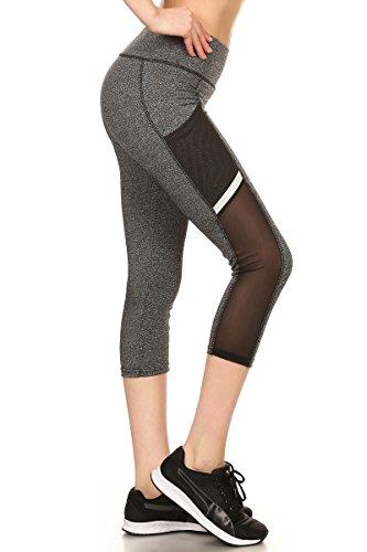 Sejora Satina Yoga Pants & Capris Activewear Exercise Leggings w/Designs & Mesh (Medium, 04 Grey)