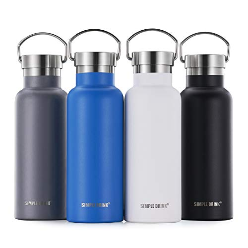 SIMPLE DRINK Stainless Steel Insulated Water Bottle with Plastic-Free Metal Lid - Double Wall Standard Mouth Thermal Flask for Sports Travel - BPA Free, Leak Proof (17 oz)