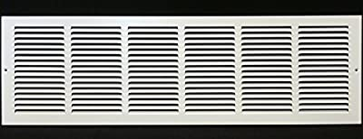 "36""w X 16""h Steel Return Air Grilles - Sidewall and Ceiling - HVAC Duct Cover - White [Outer Dimensions: 37.75""w X 17.75""h]"