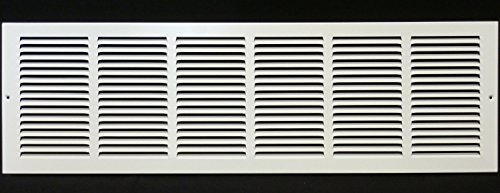 36w X 8h Steel Return Air Grilles - Sidewall and Ceiling - HVAC DUCT COVER - White [Outer Dimensions: 37.75w X 9.75h]
