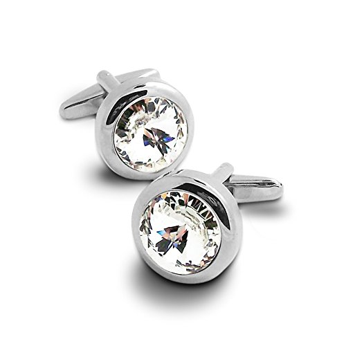 Covink Swarovski Crystal Cufflinks Blue and White Crystal Cuff Links with Gift Bag (White) (Enameled Cufflinks)