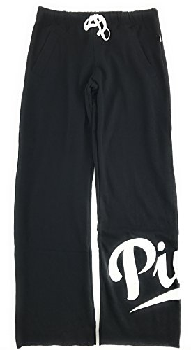 Victoria's Secret Pink Boyfriend Sweat Pants Pure Black X-Small (Sweatpants Victoria)
