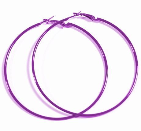 PURPLE Hoop Earrings 50mm Circle Size - Bright & Vibrant Colors