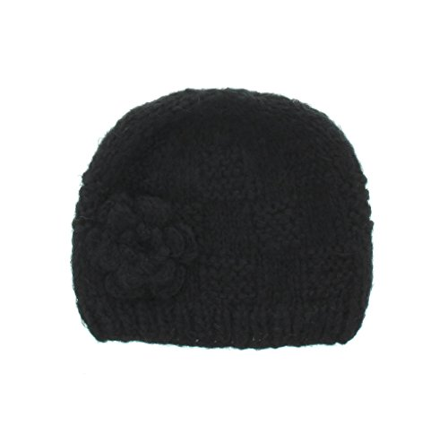 Milani Women's Warm Fashion Hand Knit Beanie Cap With Crochet Flower Design in Black