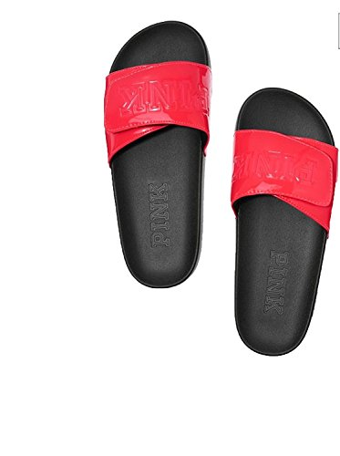 Victoria's Secret Pink Crossover Comfort Slides Sandals, Neon Candy Coral, Medium