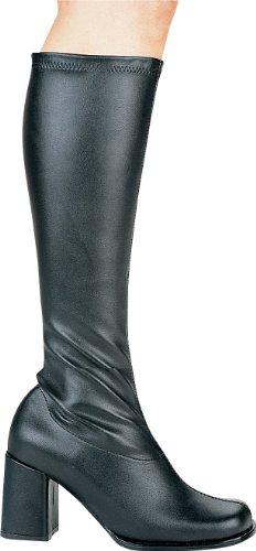 Ellie Shoes Knee High Boot Side Zipper Vintage Retro Cheerleader Gogo Black PU-11