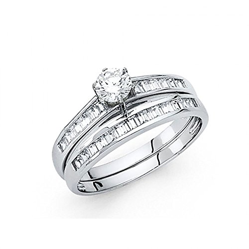 14k White Gold Round Brilliant Cut CZ Engagement Wedding Ring Set with Channel Set Baguettes