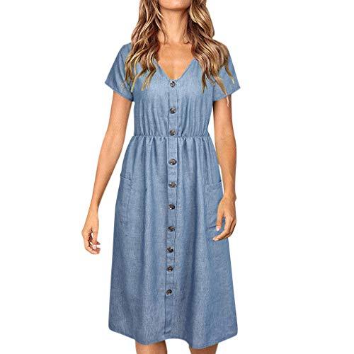iLUGU Women Holiday Strappy Button Pocket Denim Dress Summer Beach Midi Swing Dress