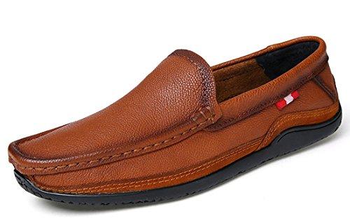 Tda Mens Classic Slip-on In Pelle Penny Driving Mocassini Da Passeggio Scarpe Da Barca Marrone