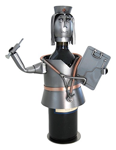 H & K Sculptures Nurse with Chart Wine Bottle Holder/Wine Caddy, null (Bottle Metal Wine Holders)
