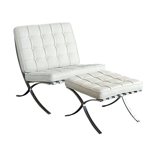 Diamond Sofa Cordoba Tufted Chair & Ottoman 2PC Set with Stainless Steel Frame in White-in-White