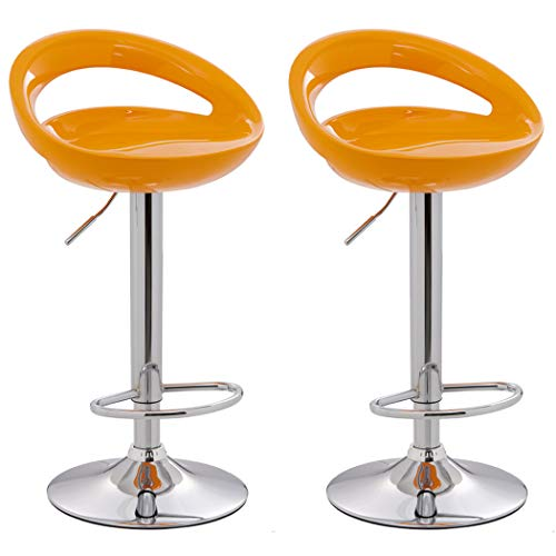 - Crescent Bar Stool WY.147 with ABS Plastic Seat Set of 2 Duhome Bar Chair (Orange)