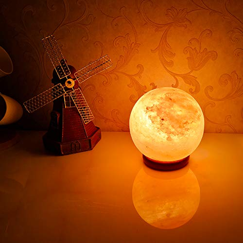 pursalt Himalayan Salt Lamp Night Light Pink Rock Salt Crystal Large Lamp Hand Carved with Taly Wood Base,2 Bulbs for Lightning,Air Purifying,Gifts, Global by pursalt (Image #3)