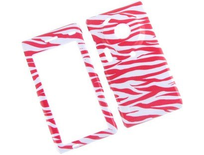 (Durable Plastic Phone Design Cover Case White and Hot Pink Zebra For Samsung Memoir T929)