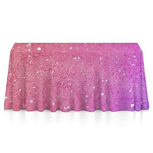 GLORY ART Premium - Pink Glitter Pattern - Water Resistance Rectangle Tablecloth, Wedding/Birthday/Party/Event/Banquet/Restaurant Decor - 52x70 inches Durable Polyester Table Cloth ()
