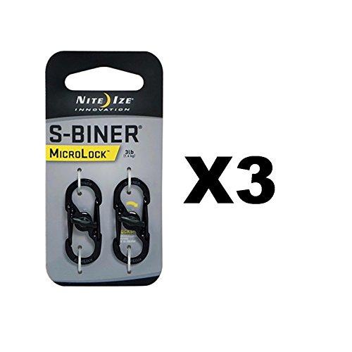 Nite Ize S-Biner MicroLock Black Locking Biners Keychain Pet Tags (3-Pack of 2) by Nite Ize