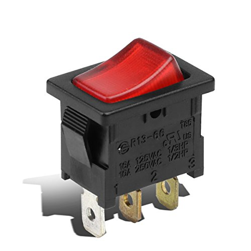 For 12V 16A Car Auto Red LED Light Toggle Mini Rocker Switch 3Pin SPST ON/OFF 2 Position Black/Red Color - Billet Light Switch