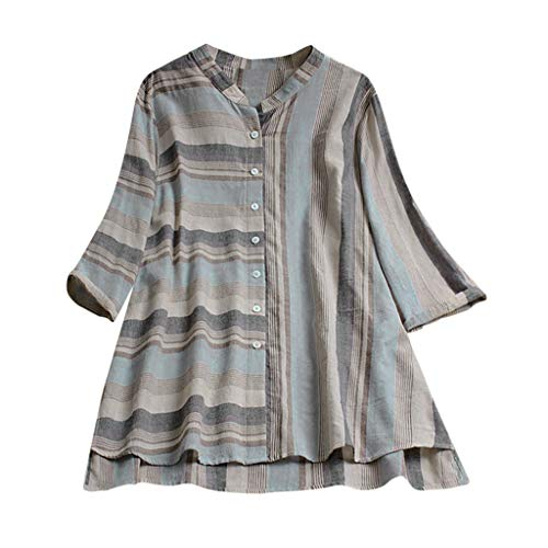 Aniywn Women's Plus Size Vintage Button Up Blouse Long Sleeve Casual Irregular Stripe Cardigan Top T-Shirt Gray