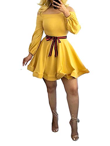 Ophestin Women Off The Shoulder Long Sleeve Bow Tie Stripe Belted Fit and Flare A-Line Skater Mini Short Dress Yellow M
