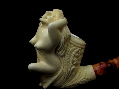 Bathing Nude Girl Turkish Block Meerschaum Pipe Yellow Huge Floral Bowl 3174