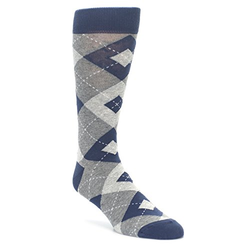 Statement Sockwear Men's Argyle Groomsmen Wedding Socks (Navy Grey) by Statement Sockwear