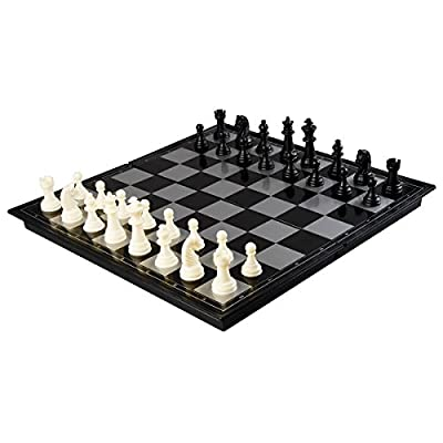 """Amerous 12"""" x 12"""" Travel Magnetic International Chess Set with Folding Chess Board"""