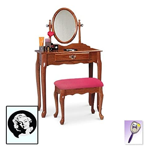 New Marilyn Monroe Themed Oak Finish Make Up Vanity Set with Adjustable Mirror and Bench with your choice of seat cushion theme! Also includes free hand & purse (Marilyn Monroe Bedroom Theme)