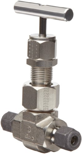 Parker U Series Stainless Steel 316 High Temperature Needle Valve, Inline, T-Bar Handle, Regulating Stem, 1'' CPI Compression Fitting by Parker