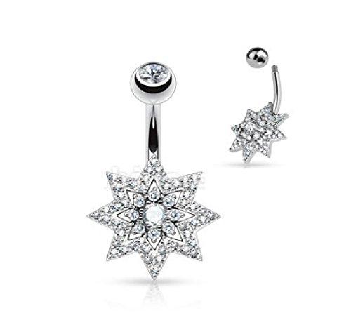 Belly Button Rings Micro Pave CZ Sunburst with Double Tier Round CZ Set Center 316L Surgical Steel