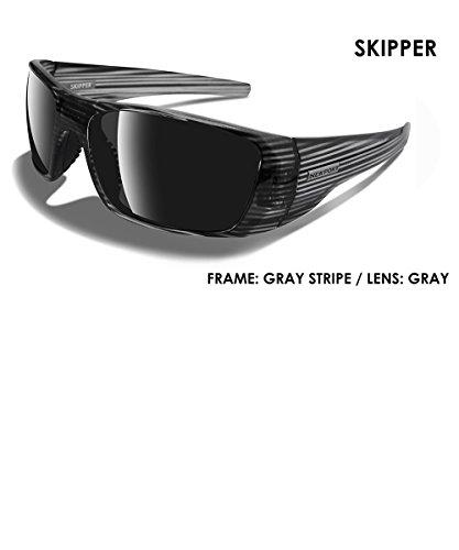 NEWPORT POLARIZED Sunglasses SKIPPER Shiny Grey Striped / Polarized Grey - Sailing Sunglasses