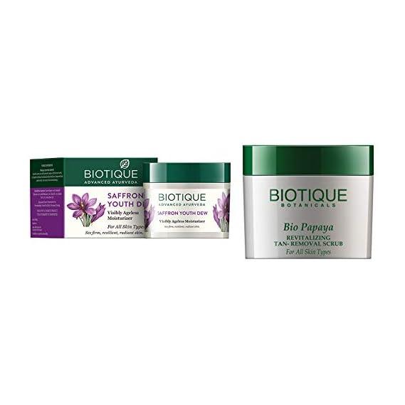 Biotique Bio Saffron Dew Youthful Nourishing Day Cream For All Skin Types, 50G And Biotique Bio Papaya Revitalizing Tan