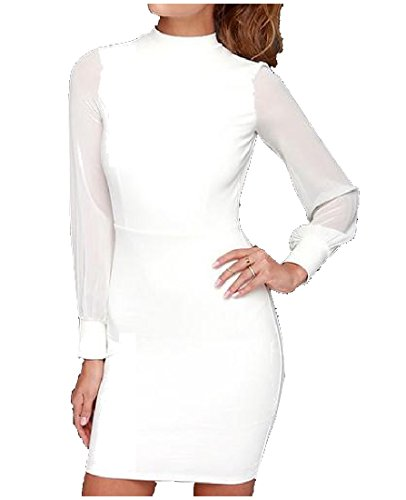 Sexy Bodycon Womens Backless Mesh Conjoin Solid White Dress Comfy Skinny d4Y7qx0xw