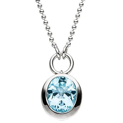 Collier Collier avec pendentif topaze bleue 925argent bleu clair 45cm Collier Bijoux