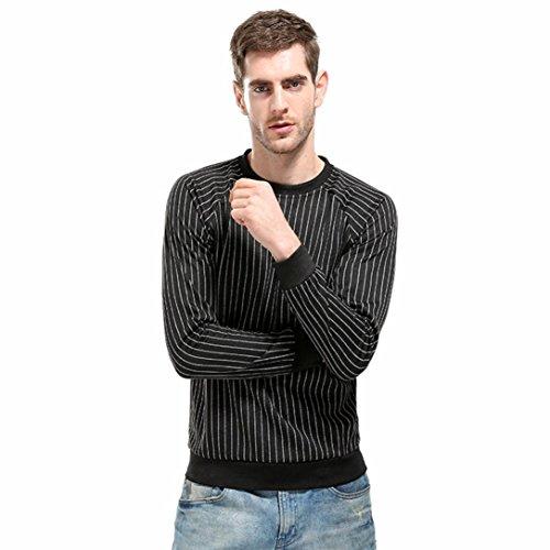 Longay Men's Striped Shirt Plus Size Blouse Pullover Slim Fit Long Sleeve Top (L, Black)