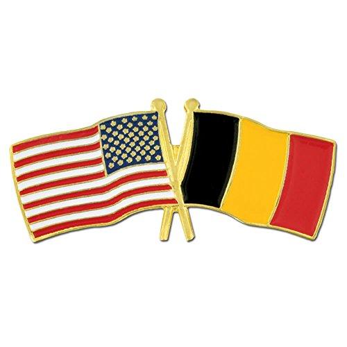 PinMart USA and Belgium Crossed Friendship Flag Enamel Lapel Pin
