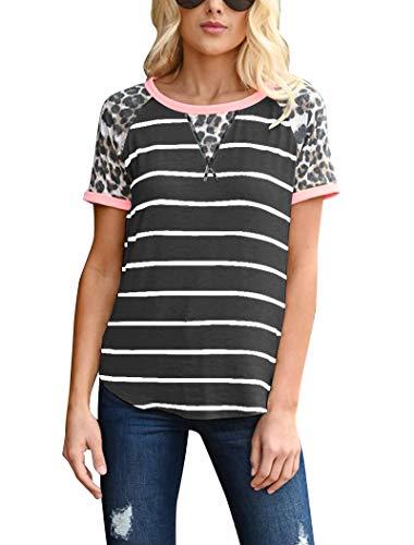 Hilltichu Women's Leopard Stripe Short Sleeve Tees T-Shirt Casual Round Neck Tops -