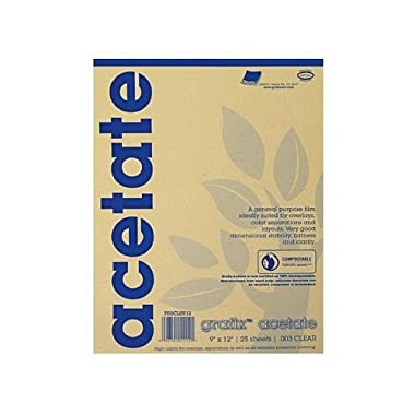 Grafix Acetate Pad, 9 X 12 in, Clear, 25 Sheets/Pad
