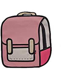 3D Stereoscopic Backpack Women's Canvas Schoolbag Cartoon Backpack for Girl