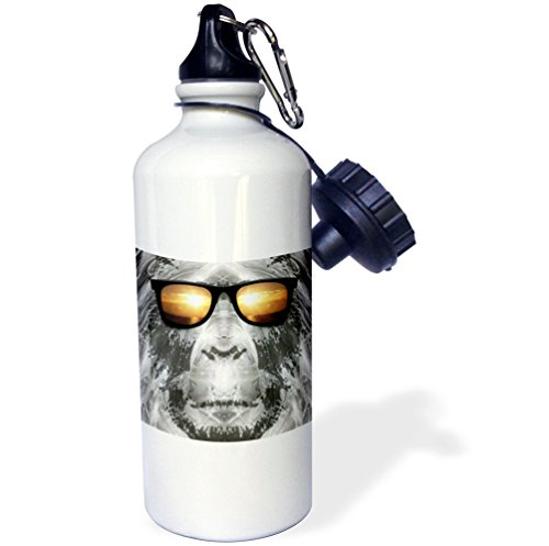3dRose wb_19405_1 Bigfoot in Shades Bigfoot Or Sasquatch Is Pictured in Style Wearing Sunglasses Sports Water Bottle, 21 oz, - Wearing Shades