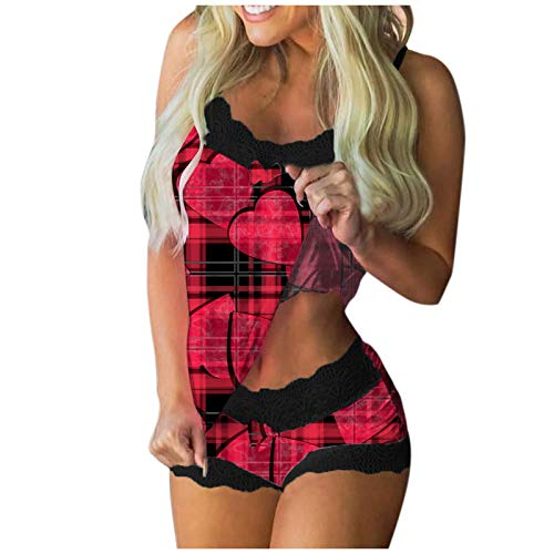 Mortilo Womens Sexy Nightwear Lingerie Lace Cami Short Lingerie Sleepwear Set(B-Red,S)