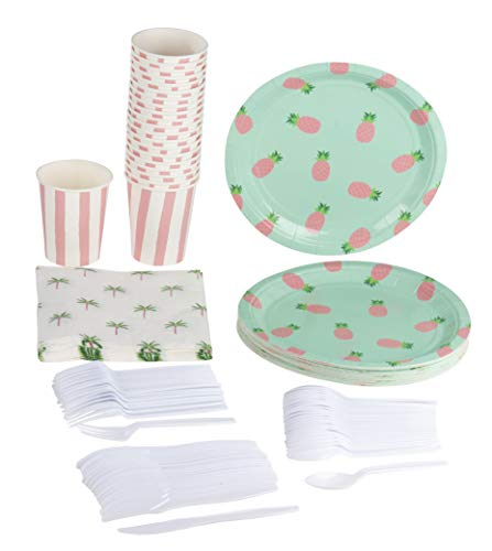 (Blue Panda Pineapple Party Supplies Pack Plates Cups Napkins (Serves)