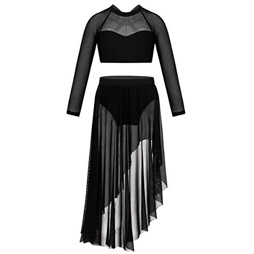 TiaoBug Girls Worship Metallic Praise Robe Dress Long Sleeve Dancewear Liturgical Tunic Skirt Swing Costume Black Long Sleeve X-Back Crop Top with Tulle Skirt 12]()