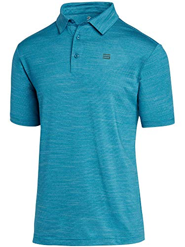Three Sixty Six Golf Shirts for Men - Dry Fit Short-Sleeve Polo, Athletic Casual Collared T-Shirt Aqua Blue (Best Moisture Wicking Golf Shirts)