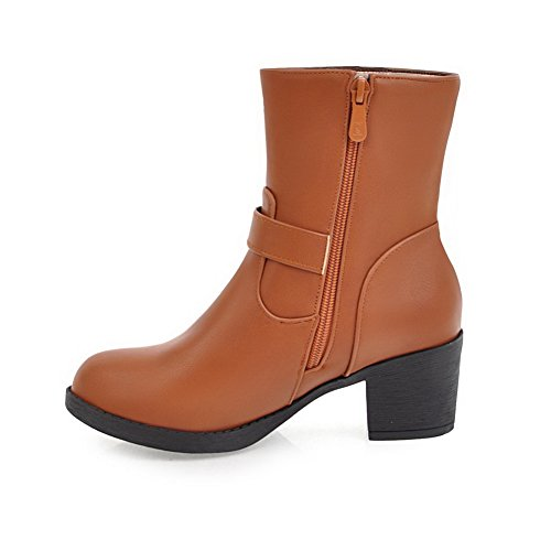 BalaMasa Womens Platform Buckle Pointed-Toe Casual Urethane Boots ABL10077 Yellow FPA5ab3S