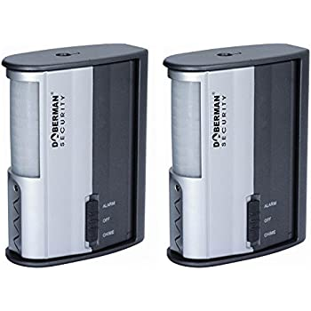 Awesome Doberman Security SE 0104 2PK Motion Detector Alarm/Chime   2 Pack  (Silver/Black)