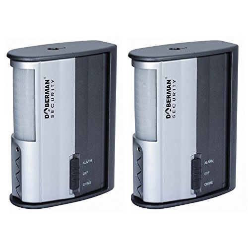 Doberman Security SE-0104-2PK Motion Detector Alarm/Chime - 2 Pack (Silver/Black) - Sensor Security Alarm